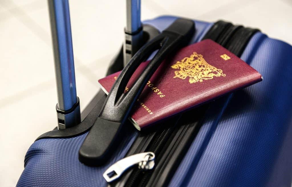 דרכון אירופאי על מזוודה